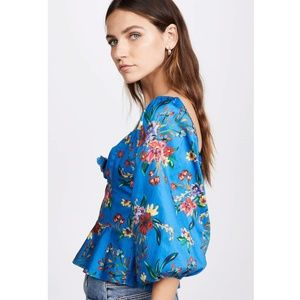 Parker Iggy Floral Puff Sleeve Sweetheart Blouse S